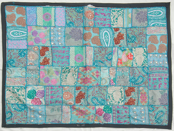 Turquoise Patchwork Wall Hanging Medium