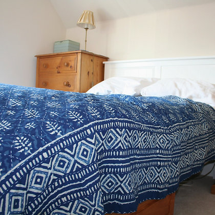 Hand Stitched Double Indigo Bedspread
