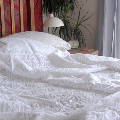 White on White Cutwork Double Bedspread