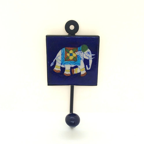 Navy Elephant Tile Hook