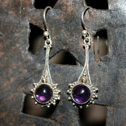 Amethyst Drop Earrings with Dot Triangle Detail