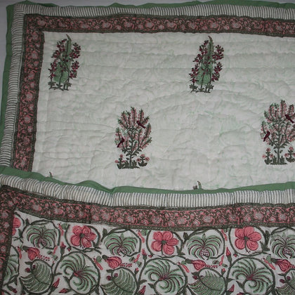 Green and Pink Flower Jaipuri Lap Quilt