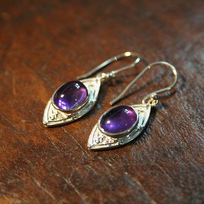Curved Diamond Shape Amethyst Earrings