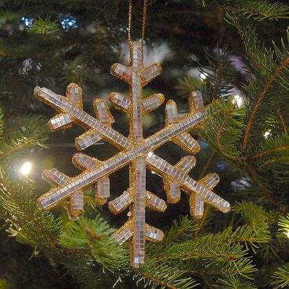 Mirrored Snowflake Christmas Decoration Gold