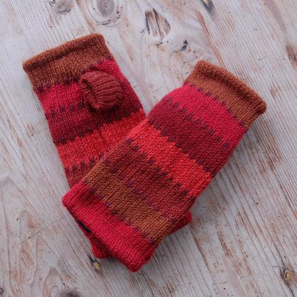 Fleece Lined Woollen Fingerless Gloves Red Stripe