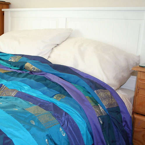 Blue Sari Bedspread Double