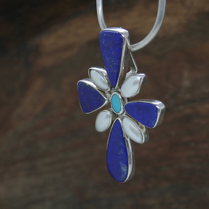 Lapis Lazuli, Pearl and Turquoise Pendant