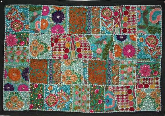 Turquoise Patchwork Wall Hanging Small