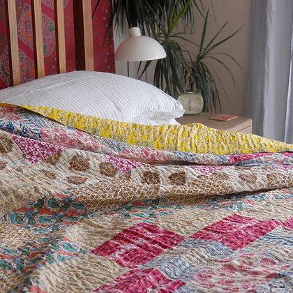 Soft Floral Patchwork Bedspread Double