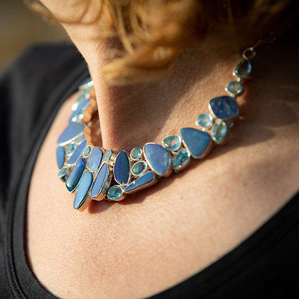 Topaz and Opal Necklace and Earrings