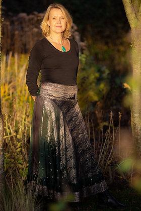 Green Embroidered Vintage Sari Skirt Long