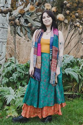 Green Silk Wrap Skirt