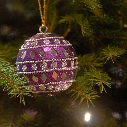 Mirror Christmas Bauble Purple