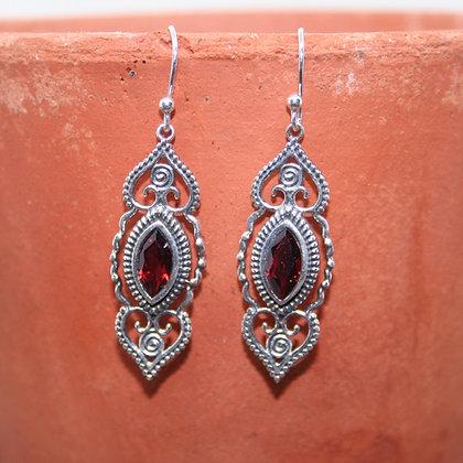 Intricate Garnet Earrings