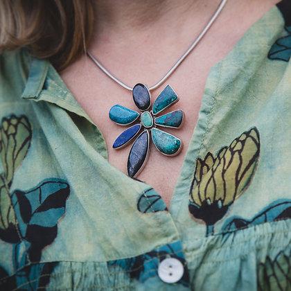 Azurite, Lapis Lazuli, Kyanite and Chrysoprase Flower Pendant