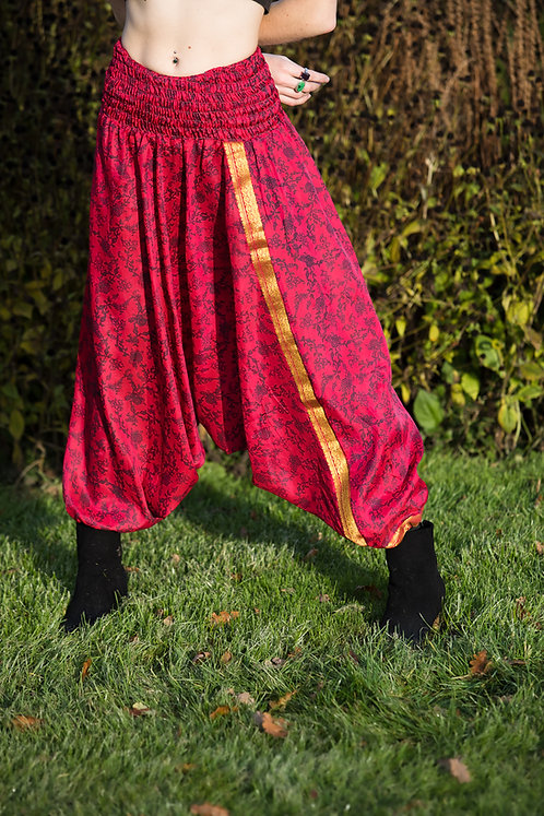 Red Upcycled Harem Trousers