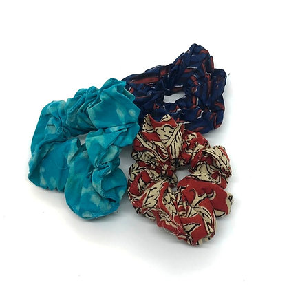 Cotton Hair Scrunchies - Assorted Pack of Three