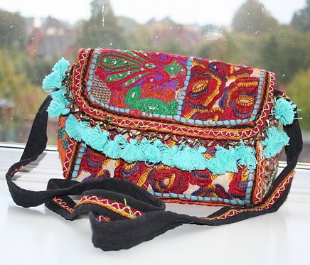 Turquoise Patchwork Shoulder Bag