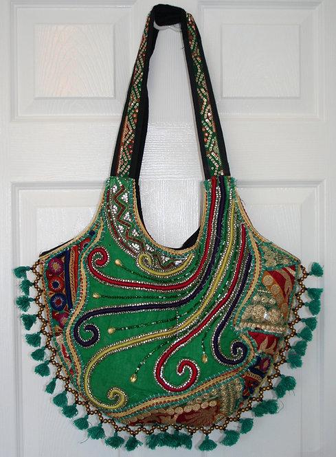 Green Round Tassel Patchwork Bag
