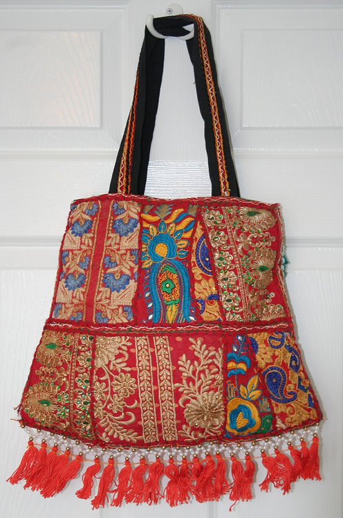 Red and Turquoise Patchwork Bell Bag