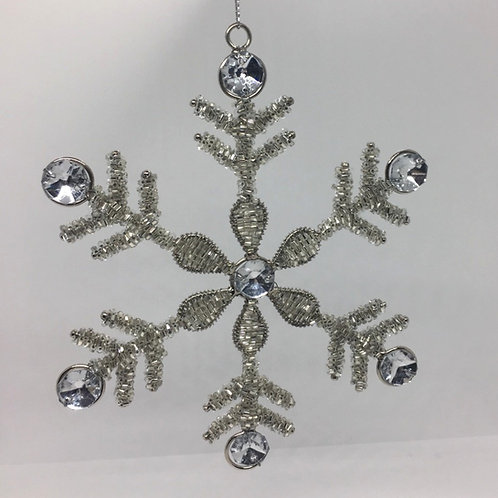 Silver Sequin Snowflake Christmas Decoration - Large