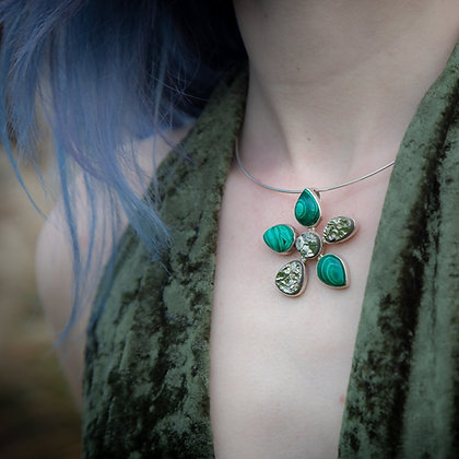 Malachite and Pyrite Flower Pendant