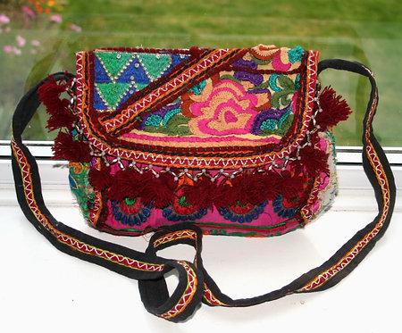 Red Floral Patchwork Shoulder Bag