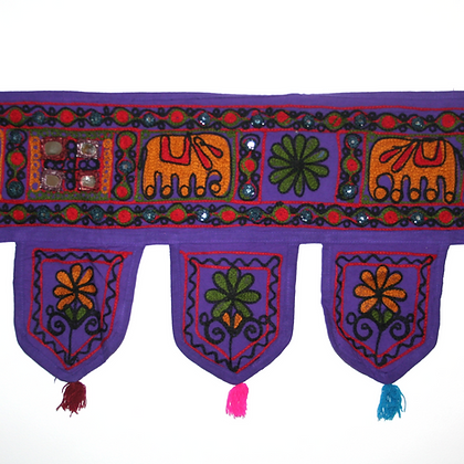 Purple Embroidered Elephant Toran