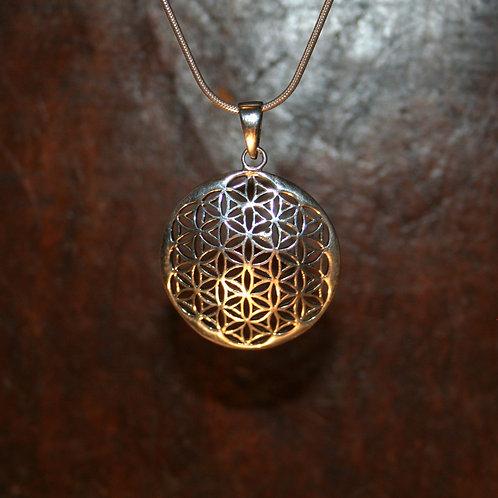 Concave Flower of Life Mandala Pendant