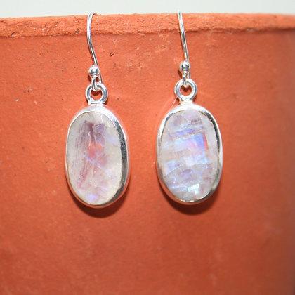 Faceted Rainbow Moonstone Earrings