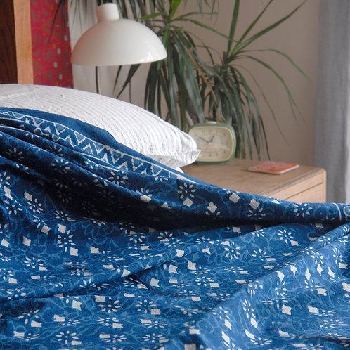 Buti Flower Indigo Single Double Bedspread