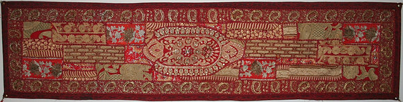 Red Patchwork Table Runner with Tassels