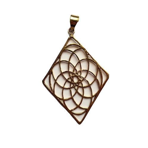 Flower in a Diamond Pendant