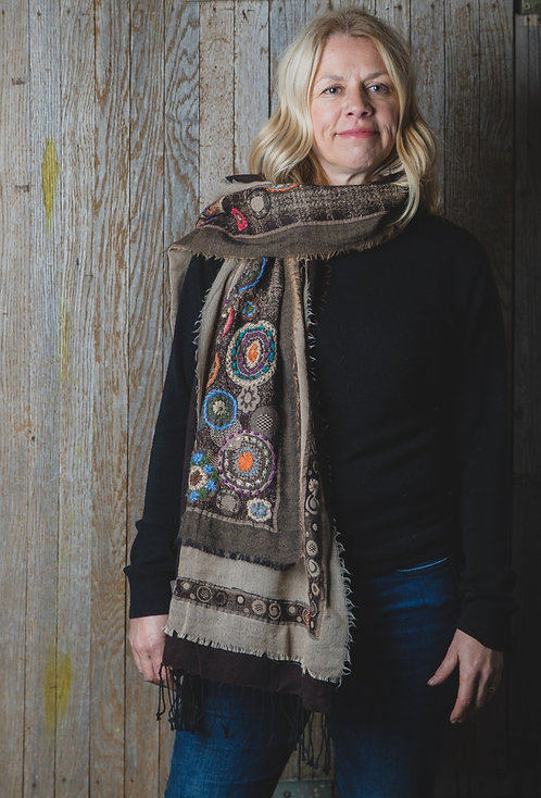 Hand Embroidered Wool Scarf