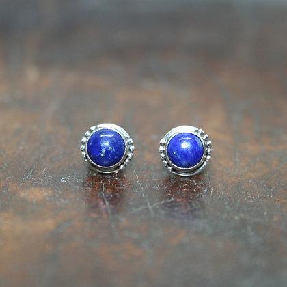 Round Detailed Lapis Lazuli Studs