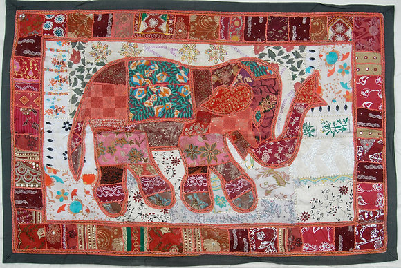 Red Patchwork Elephant Wall Hanging