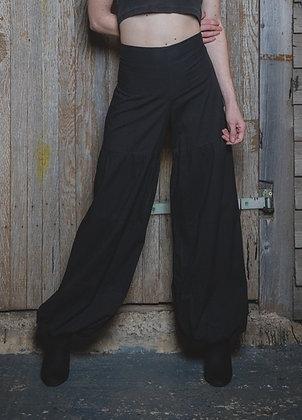 Black Cotton Harem Trousers