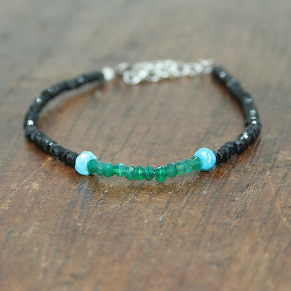 Black Onyx, Green Onyx and Turquoise Beaded Bracelet