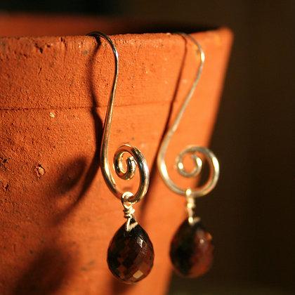 Spiral Smoky Quartz Drop Earrings