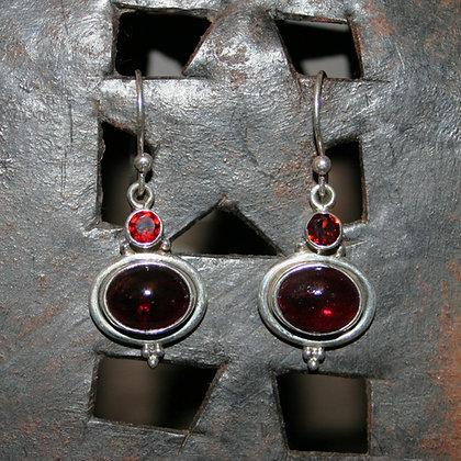 Double Garnet Earrings
