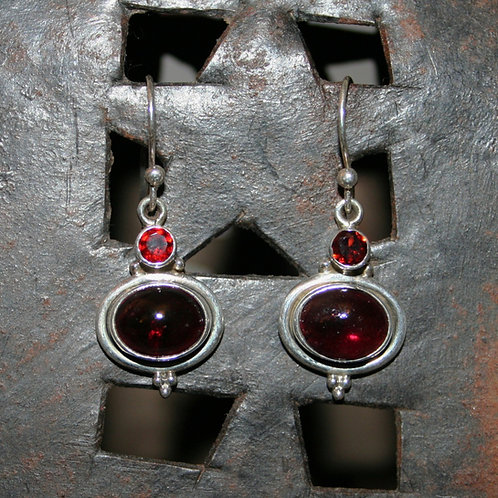 Double Garnet Earrings