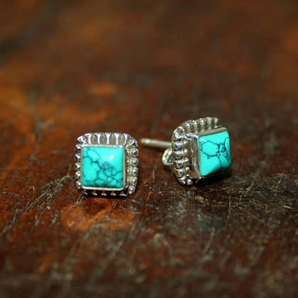 Detailed Square Turquoise Studs