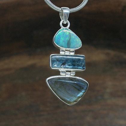 Opal, Kyanite and Labradorite Pendant