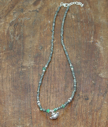 Pyrite and Indian Silver Beaded Necklace with Teapot Pendant