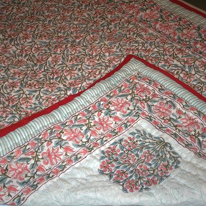 Peach Flower Jaipuri Lap Quilt