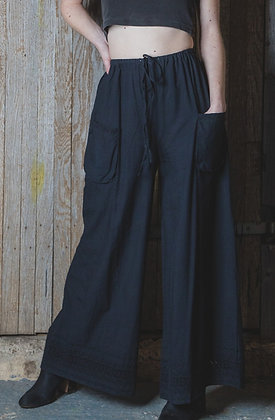 Black Lace Bottom Trousers