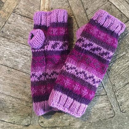 Purple Stripe Fleece Lined Woollen Fingerless Gloves