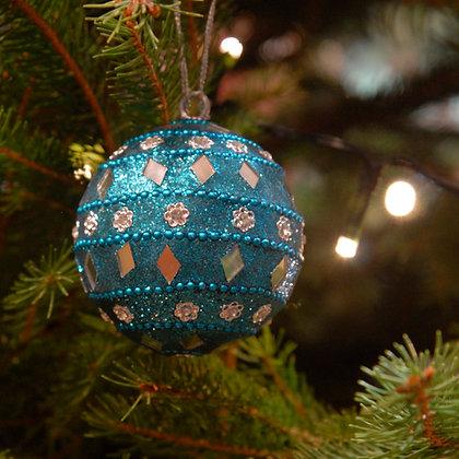 Mirror Christmas Bauble Blue