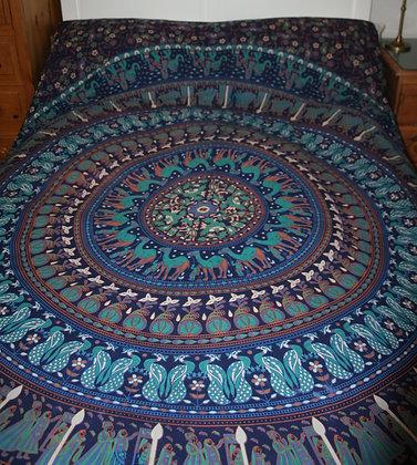 Blue Elephant Mandala Double Bedspread