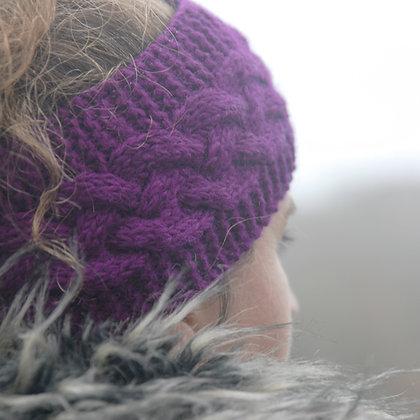 Knitted Woollen Headband Purple